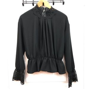 Black Lace Detail Long Sleeve Top